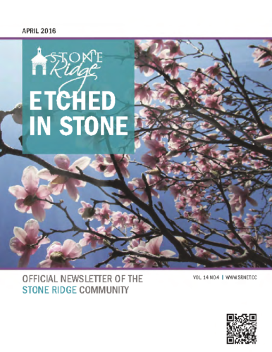 April 2016 Etched In Stone Newsletter