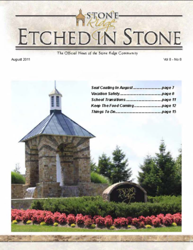 Aug 2011 Etched In Stone Newsletter