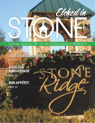 December 2016 Etched In Stone Newsletter