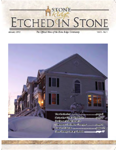 Jan 2012 Etched In Stone Newsletter